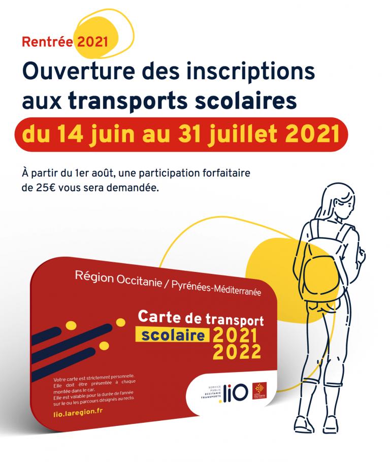 carte des transports scolaire occitanie pour les inscriptions 2021-2022